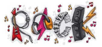 Rock composed of musical instruments  with hand drawn style