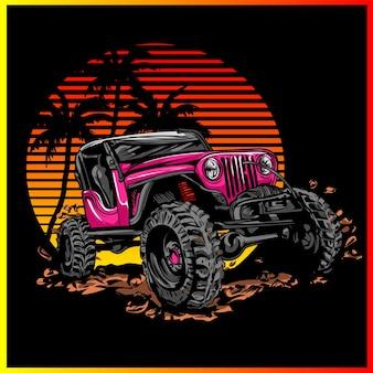 山のロッククローラーカー。オフロード4x4。