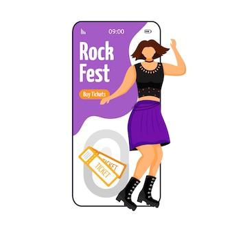 Rock fest cartoon smartphone vector app screen.