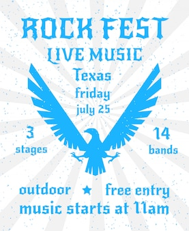 Rock fest live music poster template with eagle design