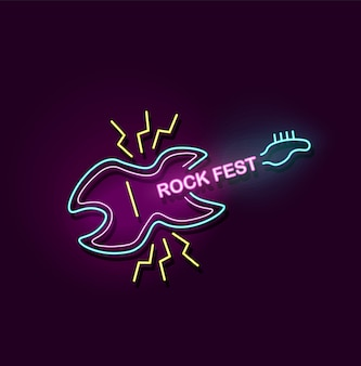 Rock fest neon sign with electric guitar icon and glowing colorful light - music concert or night club festival event logo - modern  illustration