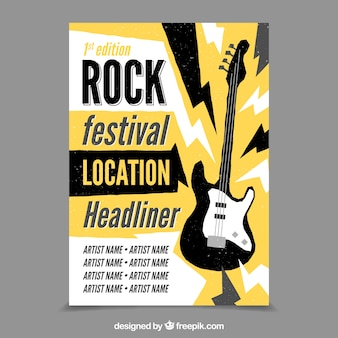 Rock festival background with electric guitar