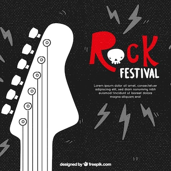 Rock festival background with guitar