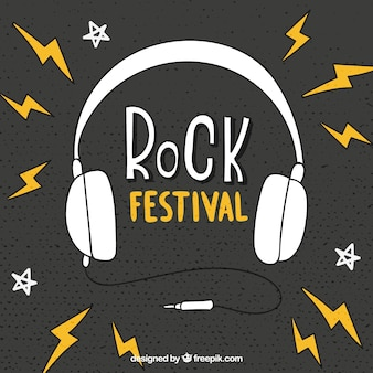 Rock festival background with headphones