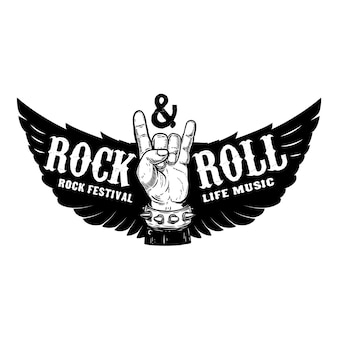 Рок-фестиваль. человеческая рука с рок-н-роллом знаком на фоне с крыльями. элемент для печати футболки, плакат. иллюстрация.