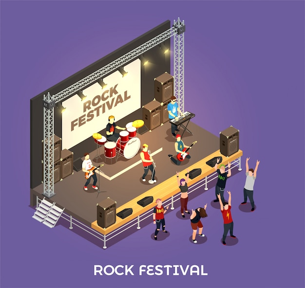 Rock festival isometric composition