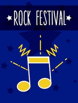 Rock festival music notes cartoon