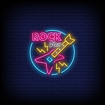 Рок-фестиваль неоновые вывески стиль текста