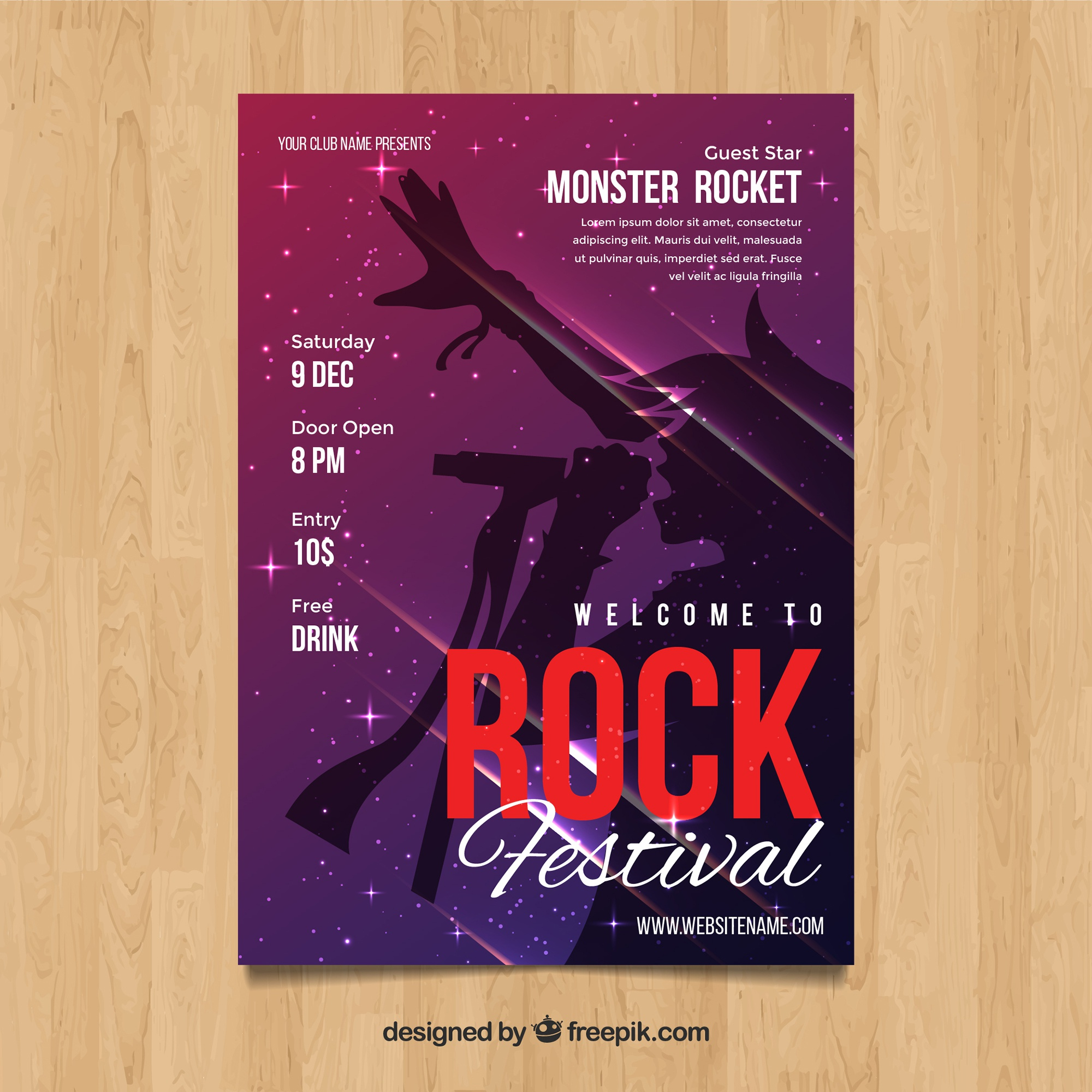 Rock Festival poster in abstract style