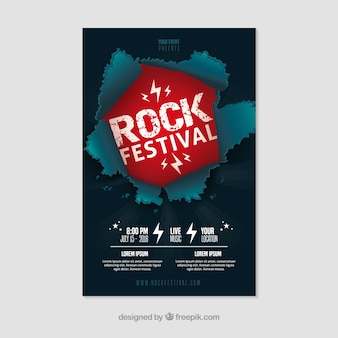 Rock festival poster with flat design