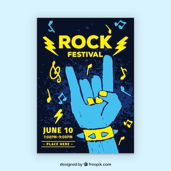 Rock festival poster with hand drawn style