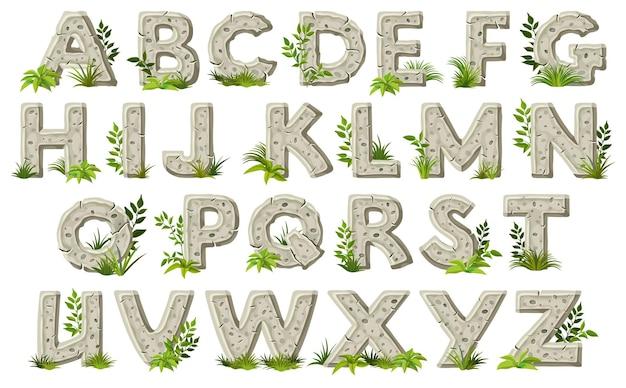 잎 잔디와 바위 글꼴 석기 시대 쓰기