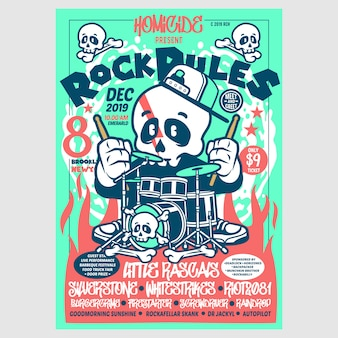 Rock green red poster