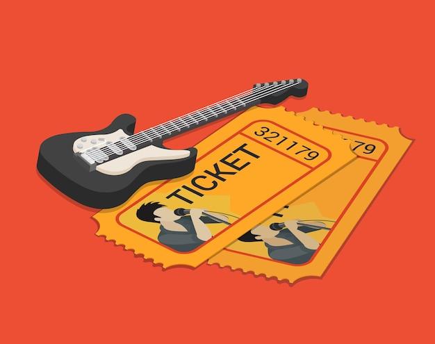 Biglietto di partecipazione allo spettacolo del cantante del gruppo rock prenotazione isometrica piatta