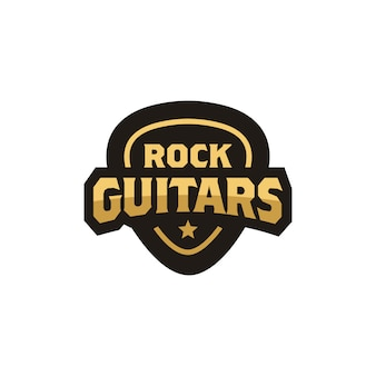 Rock guitar pick emblem badge logo design
