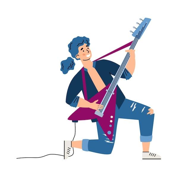 白で隔離のロックギタリスト男性漫画キャラクターベクトルイラスト