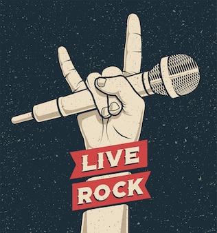 ライブロックキャプション付きのマイクを保持している岩手ジェスチャー。ロックンロール音楽ライブコンサートやパーティーのポスターやチラシのコンセプトテンプレート。ビンテージスタイルのイラスト。