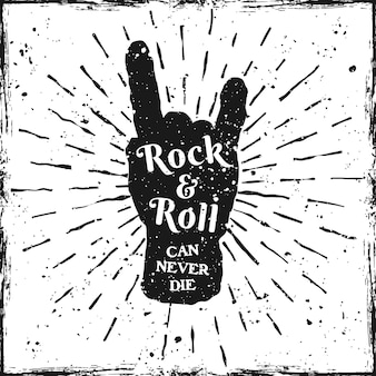 Rock hand print with text