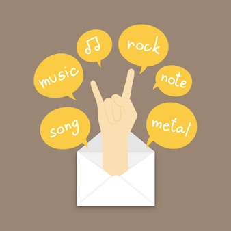 Rock hand sign language pop up from mail and text box on brown color background
