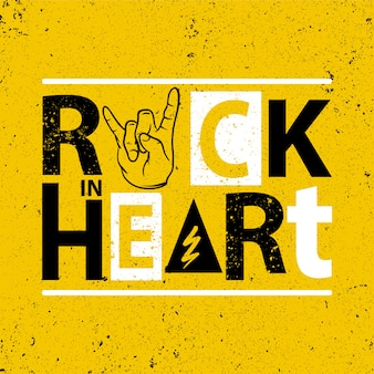 Rock in heart poster