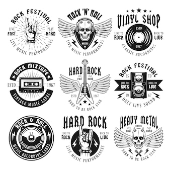 Rock and heavy metal music set isolated on white