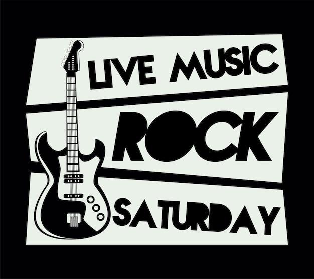 일렉트릭 기타와 록 라이브 축제 레터링 포스터