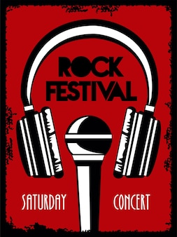 ヘッドフォンとマイク付きのロックライブフェスティバルレタリングポスター