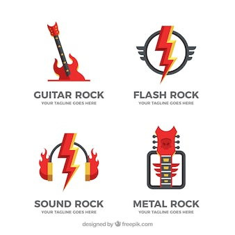 Rock logo collection with flat design