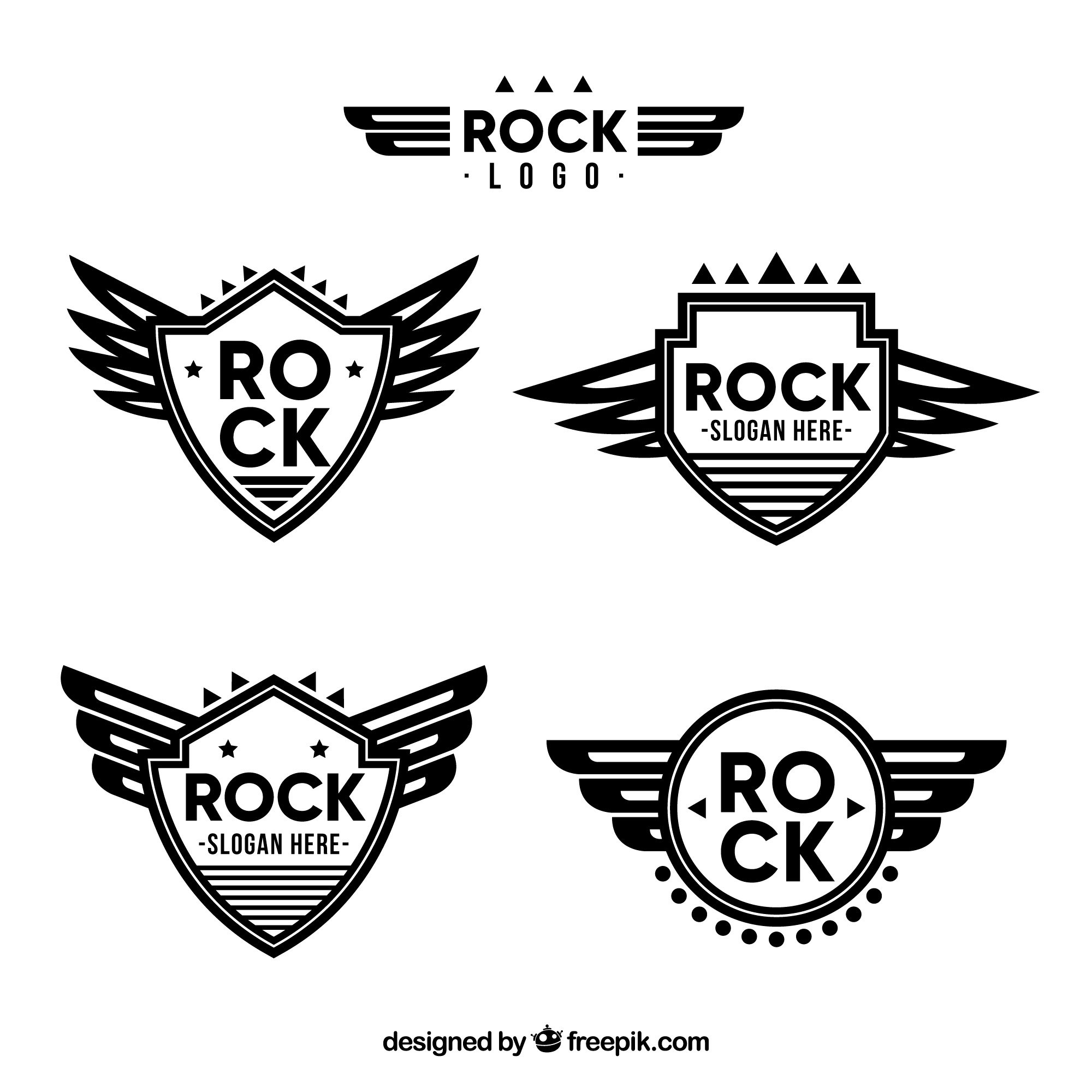 Rock logos collection in flat style