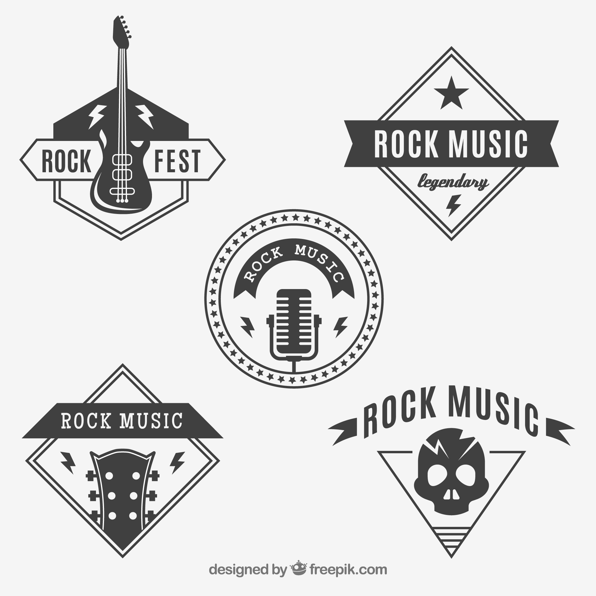 Rock logos collection in vintage style
