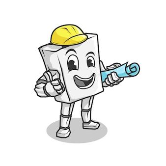 Рок-талисман. мультяшный ретро винтажный подрядчик или строительный рабочий персонаж талисман логотип