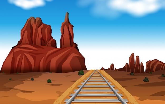Rock mountain in desert scene