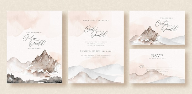 Rock mountain landscape watercolor background on wedding invitation