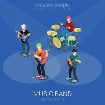 Рок музыка группы изометрической концепции. люди играют на музыкальных инструментах иллюстрации.