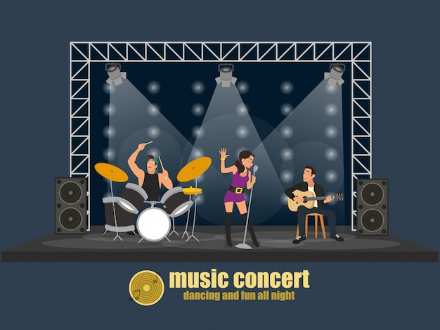 Rock music band pop professional scene concert. group creative young people playing instruments impressive performance.