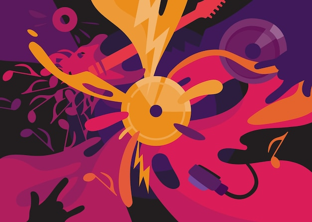 Rock music banner. placard design in abstract style.