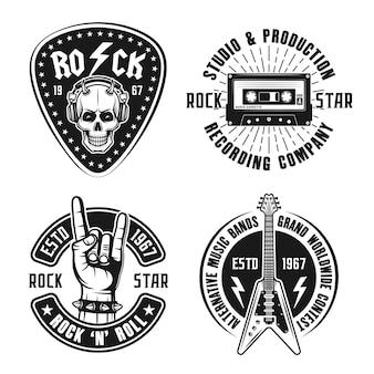 Эмблемы рок-музыки, этикетки, значки в винтажном стиле