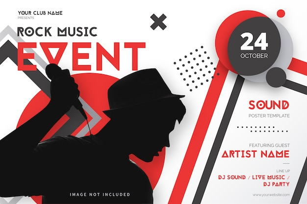 Rock music event poster template with geometric shapes