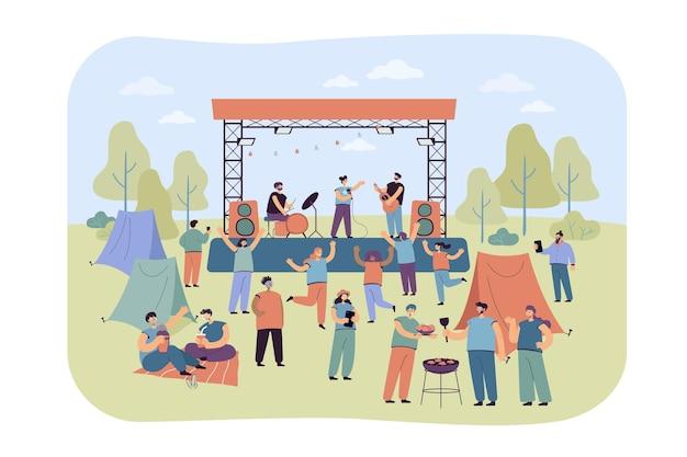 야외에서 열리는 록 음악 축제