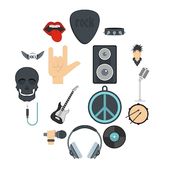 Rock music icons set in flat style