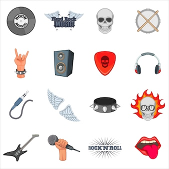 Rock music icons set
