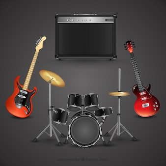 Rock music instruments