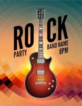 Rock music live concert poster flyer. rock party festival show band poster with guitar