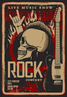 Rock music live convert retro flyer or poster template