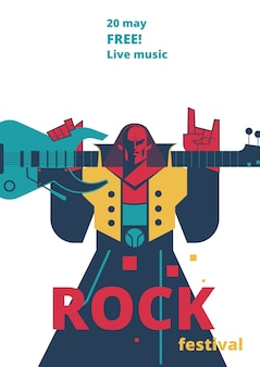 Rock music live festival poster for concert placard or entry ticket