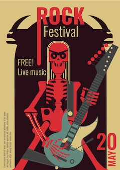 Rock music live festival poster for free entry placard to rock concert.