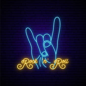 Rock music neon sign.