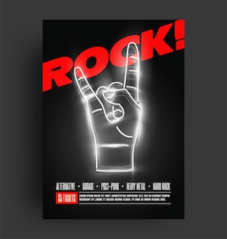 Rock music party or concert or festival flyer or poster or banner design template