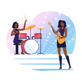 Rock music performers flat illustration
