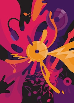 Rock music poster. placard design in abstract style.